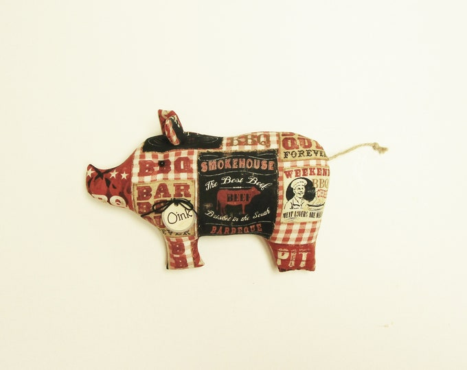 Barbecue Pig, Handmade Fabric Pigs, Primitive Pigs, Country Farmhouse Decor