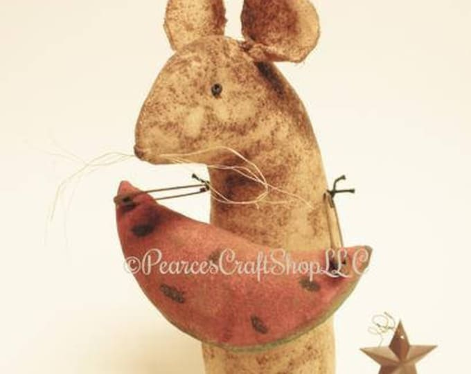 Extreme Primitive Watermelon Mouse - Made To Order | Primitive Summer Mouse | Watermelon Mouse Country Decor