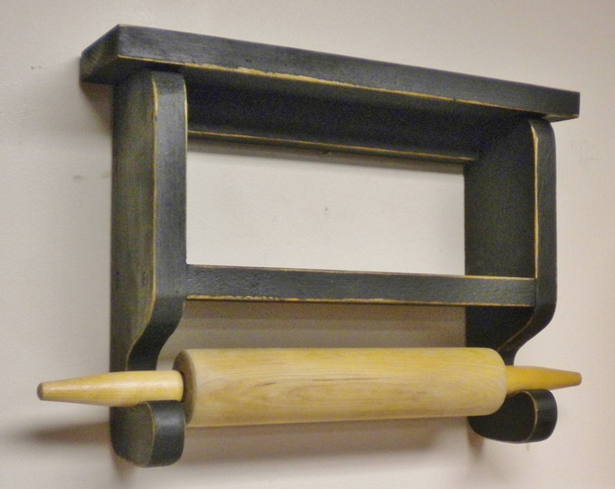 Rolling Pin Holder - Made To Order   Rolling Pin Shelf   Primitive Rolling Pin Wall Rack