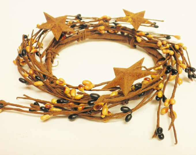 Pip Berry Ring in Black and Tan with Rusty Stars | Candle Rings | Pip Berry Wreaths | Primitive Fall Decor
