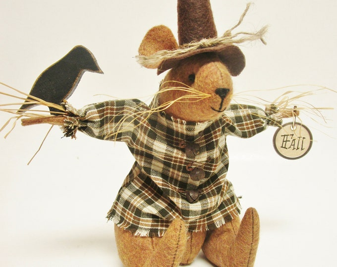 "Scarecrow Mouse & Crow with ""Fall"" Tag - Made To Order 