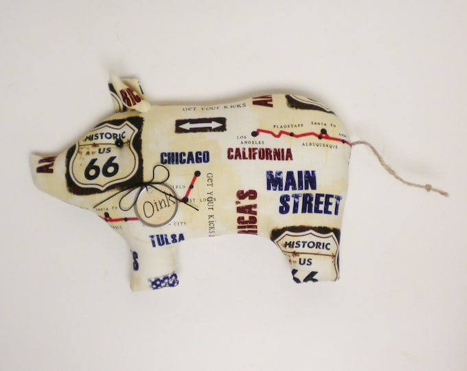 Route 66 Pig - Made To Order | Primitive Pigs | Americana Decor