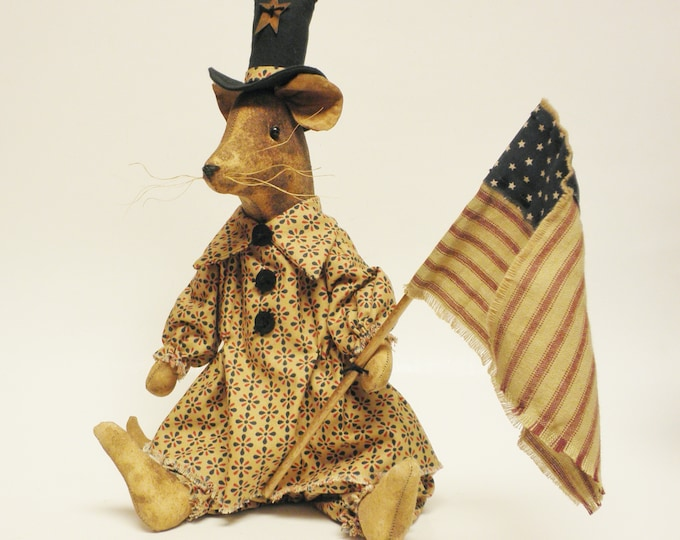 Primitive Americana Mouse, Handmade Mouse, Primitive Dolls, Mouse with Flag, Primitive Mouse