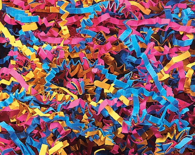 Fiesta Mix Paper Shred | Pink Blue Yellow Paper Shred | Gift Basket Filler | Decorative Paper Packing Material