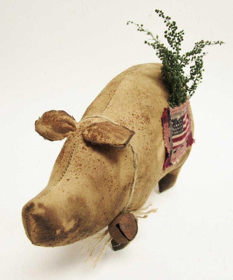 Americana Pig  Patriotic Summer Decor  Primitive Pigs image 0