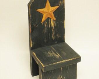 Primitive High Back Bench Riser, Table Risers, Doll Benches, Wood Risers, Primitive Risers, Country Farmhouse Decor