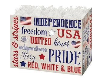 Americana Patriotic Expressions Gift Box, Primitive Americana, Theme Gift Boxes, Gift Basket Boxes, Decorative Boxes, Independence Day Gifts