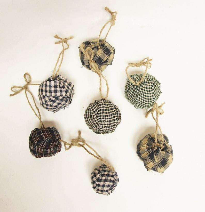 Rag Ball Ornaments  Primitive Ornaments  Handmade Rag Balls image 0