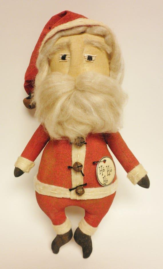 santa doll primitive santa dolls folk art santa claus dolls etsy rh etsy com