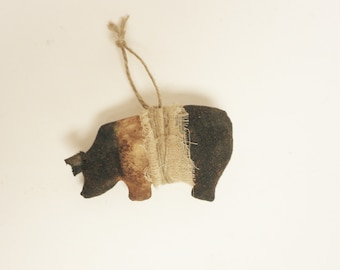 Primitive Pot Belly Pig Ornament - Ready To Ship, Primitive Animals, Pig Ornaments, Primitive Pigs, Primitive Ornaments, Country Farmhouse