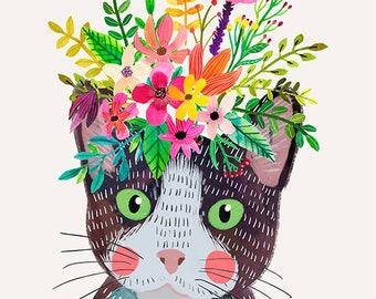 Floral Meow cat