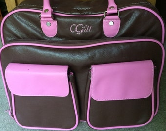 CGull Cricut Cartridge Leather Storage Tote Brown/Pink - USED