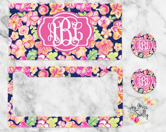 Preppy License Plate Frame Car Coasters Personalized Custom Car Tag for Women Sunflower Personalized License Plate Name Car Tag