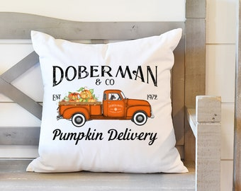 Fall Throw Pillow, Doberman Pumpkin Delivery, Doberman Pinscher Gift, Rustic Truck Decor, Fall Decor, Dog Gift