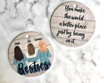 Personalized Best Friends Ornament, Sisters Ornament, Custom Ornament, Long Distance Relationship Gift, Girls Ornament, Gift for Best Friend
