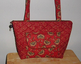 021699a69 Quilted Handmade Purse, Rust Colored Coordinating Floral Fabrics,Zippered  Purse, Medium Size Purse