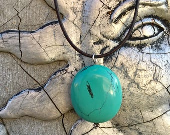 """Genuine . Turquoise . Pendant . Leather . Necklace (Adjustable) Up to 27"""""""