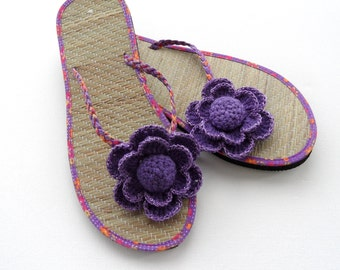 c860c6288045 Sandal Clips - Crochet Flower Clips - Flip Flop Clips - Any color Made To  Order
