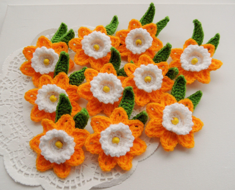 Crochet Appliques Daffodil Flowers Crochet Daffodil Brooches Etsy