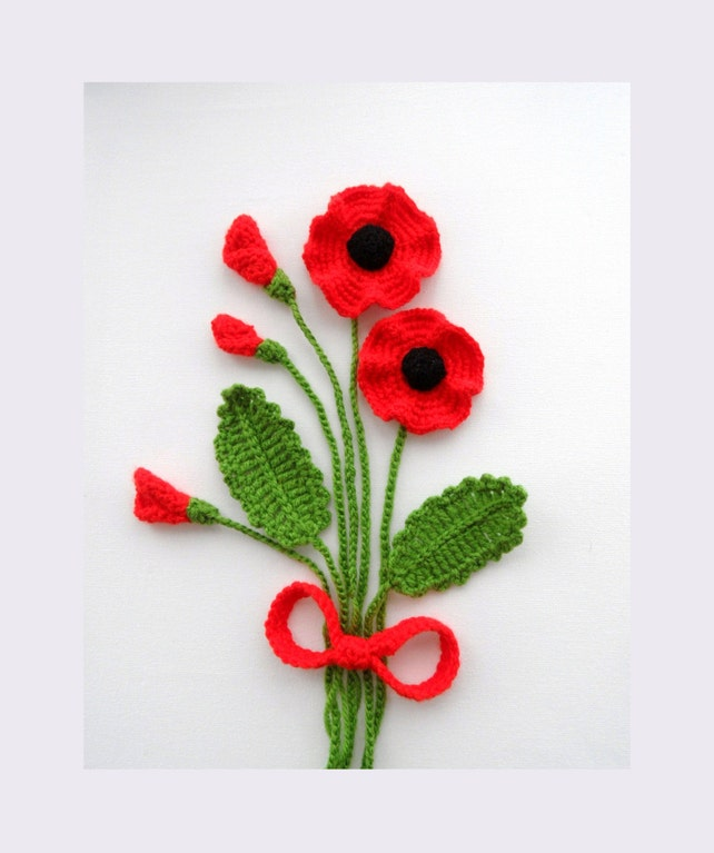Crochet applique poppy flowers and leaves set any colour etsy image 0 mightylinksfo