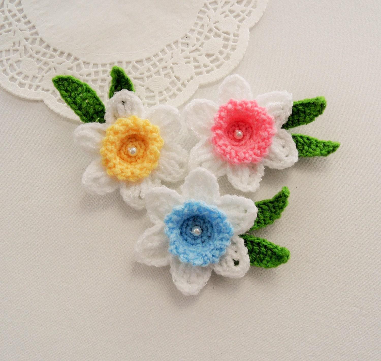 Crochet Applique Daffodil Flowers Crochet Daffodil Brooches Etsy
