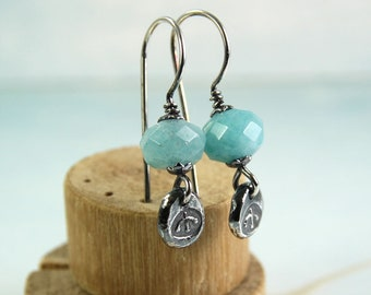 SIlver Earrings with Coloured Jade and Silver Nugget Detail Faceted Aqua Jade Beads
