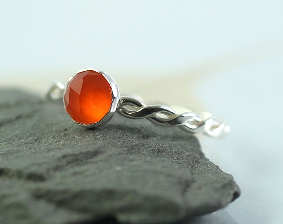 Carnelian Silver Twist Ring Sterling Stacking Ring