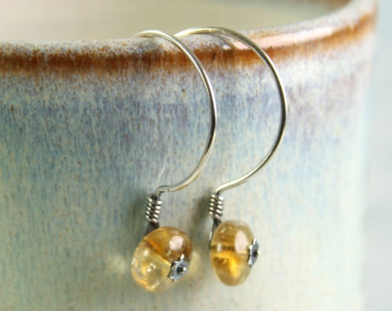 Citrine Silver Earrings on Half Hoop Ear Wires