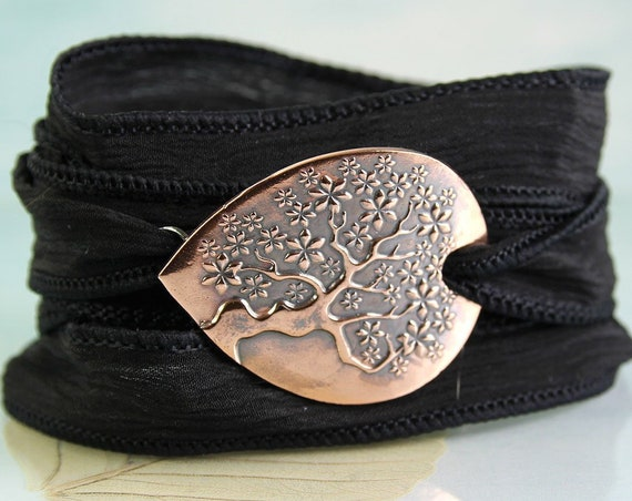 Tree of Life Wrap bracelet  Silk & Copper