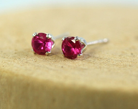 Silver Ruby Studs with Sparkling 4 mm Gemstones Sterling Silver Earrings