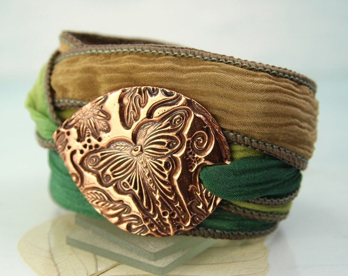Wrap Bracelet With Copper Butterfly Woodland Silk Wrap