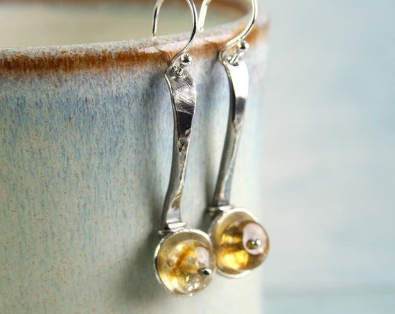 Citrine Silver Spoon Earrings Rustic Spoon Earrings in Sterling Silver