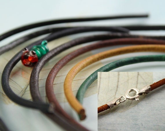 Leather Necklace with Sterling Silver Caps Round 2.5 mm Leather Cord