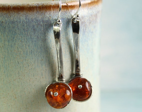 Amber Silver Earrings Rustic Spoon Shape OOAK