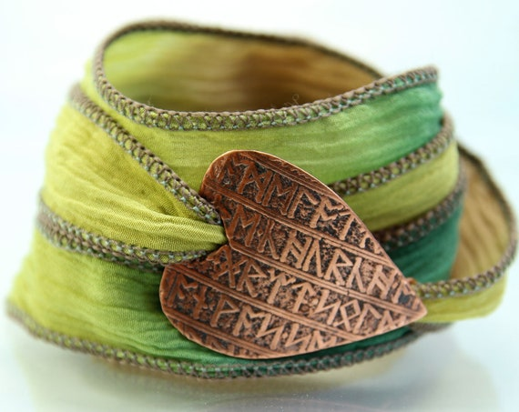 Copper Rune Bracelet Soft Silk Ribbon