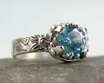Unique Gem Ring - Sky Blue Stone CZ 8mm Stone | Silver Ring Patterned Band - Scattered Leaves | Silver Band Ring | Large Gemstone Ring