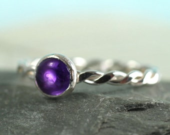 Silver Amethyst Ring Twist Stacking Ring