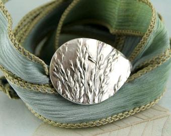 Silver Wild Grasses Bracelet  Silk Cuff