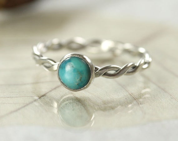 Silver Turquoise Ring Twist Gem Ring
