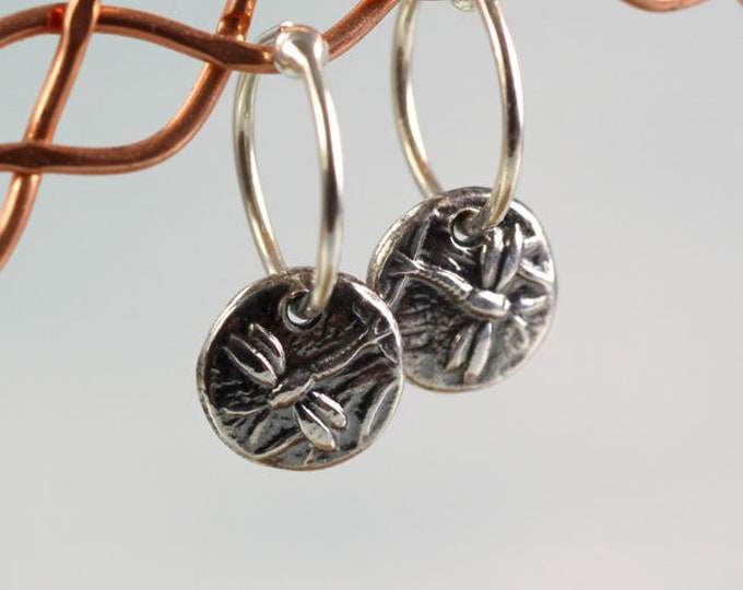 Tiny Hoops Silver Dangles with Animal Totem Motifs