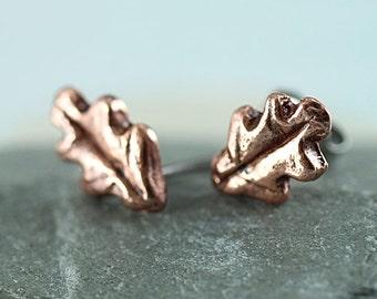 Copper Stud Earrings - Druid Oak Leaves - Oak Leaf Studs, Leaf Earrings | Copper Earrings | Druid Jewellery | Woodland Theme | Nature Lover