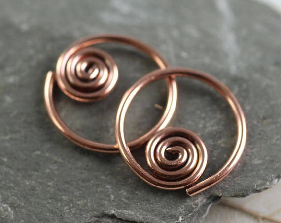 Copper Hoops with Spiral Detail