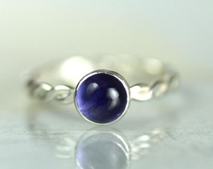 Silver Rope Twist Ring with Iolite  Sterling Silver