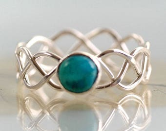 Braided Silver Ring Set With Turquoise Stone December Gift