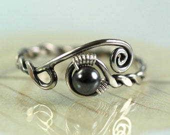 Adjustable Silver Twist Ring with Haematite Bead Viking Ring