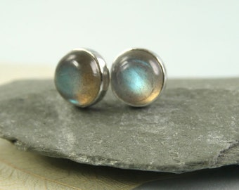 Labradorite Earrings silver Gem Studs