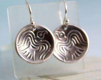 Odins Ravens Earrings. Domed Silver Dangle Earrings on Sleeper Hoops | Viking Raven