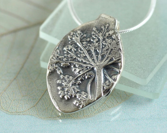 Silver Nature Necklace Wildflower Impression