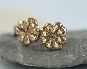 Bronze Stud Earrings - Four Leaf Clover | Good Luck Studs | Flower Earrings | Tiny Nature Studs | Irish Shamrock