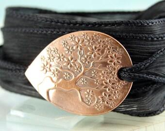 Tree-of-Life Wrap bracelet   Silk Ribbon Bracelet   Silk Cuff   Copper Tree of Life   Copper Bracelet Silk Ribbon Wrap